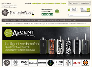 Screenshot NamasteVapes.de